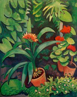 """August Macke """"Blumen im Garten, Clivia und Pelargonien"""" 72 x 90 cm"""