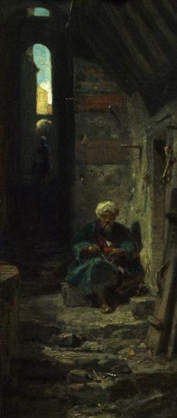 """Carl Spitzweg """"Im Orient"""" 33 x 13 cm"""