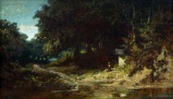 """Carl Spitzweg """"Betendes Mädchen vor einer Waldkapelle"""" 31 x 53 cm"""