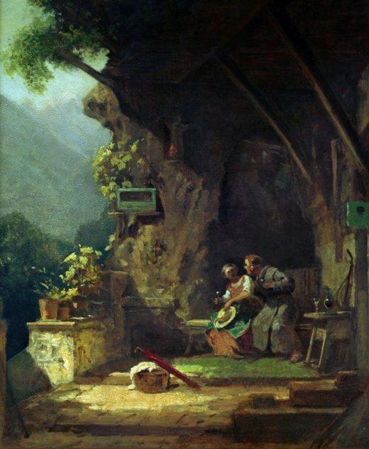 """Carl Spitzweg """"Der verliebte Einsiedler"""" 40 x 33 cm 1"""