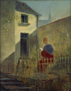 "Carl Spitzweg ""Im Hausgarten"" 24 x 19 cm"