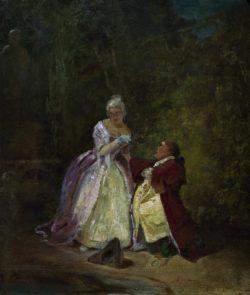 """Carl Spitzweg """"Der Antrag"""" 31 x 26 cm"""
