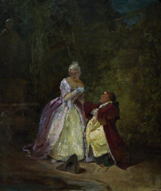 """Carl Spitzweg """"Der Antrag"""" 31 x 26 cm 1"""
