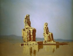 "Carl Spitzweg ""Die sog. Memnon-Kolosse in Ägypten"" 41 x 52 cm"