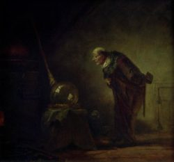 """Carl Spitzweg """"Der Alchimist mit Buch in der linken Hand"""" 24 x 25 cm"""