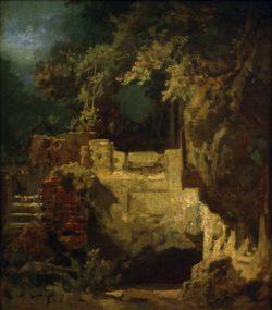 "Carl Spitzweg ""Geigender Eremit in Felsenklause"" 41 x 36 cm"