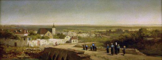 """Carl Spitzweg """"Heimkehrende Institutsmädchen"""" 13 x 32 cm 1"""