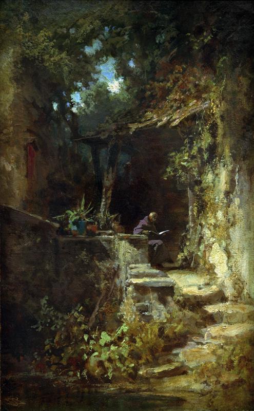 """Carl Spitzweg """"Lesender Klausner"""" 39 x 24 cm 1"""