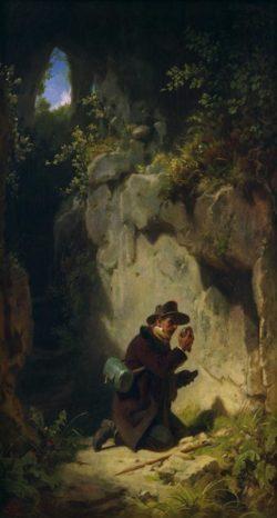 """Carl Spitzweg """"Der Geologe"""" 48 x 27 cm"""