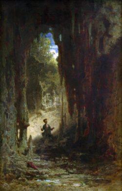 """Carl Spitzweg """"Der Mineraloge in der Grotte"""" 47 x 30 cm"""