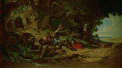 """Carl Spitzweg """"Don Quijote und Sancho Pansa, rastend"""" 32 x 53 cm"""