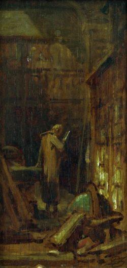 """Carl Spitzweg """"In der Bibliothek"""" 21 x 10 cm"""