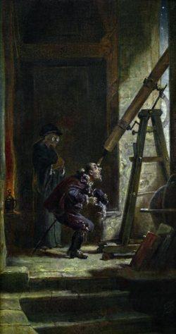 """Carl Spitzweg """"Der Astrologe"""" 30 x 15 cm"""