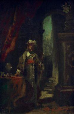 """Carl Spitzweg """"Fürstenfigur"""" 22 x 13 cm"""