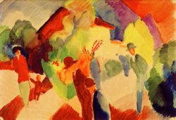 "August Macke ""Spaziergänger im Park"" 52 x 37 cm"