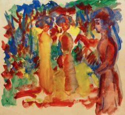 "August Macke ""Frauen beim Spaziergang"" 25 x 23 cm"