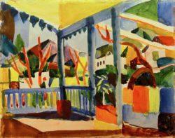 "August Macke ""Terrasse des Landhauses in St. Germain"" 29 x 27 cm"