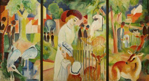 """August Macke """"Triptychon: Großer Zoologischer Garten"""" 101 x 130 cm 1"""