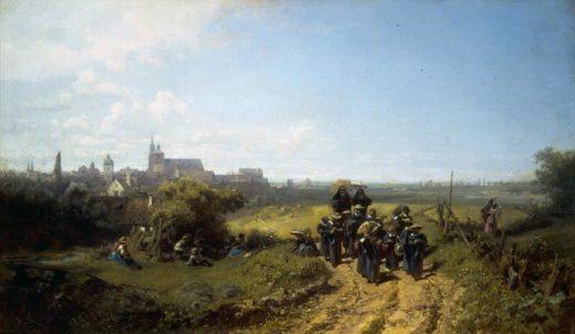 "Carl Spitzweg ""Institutsspaziergang"" 32 x 54 cm 1"
