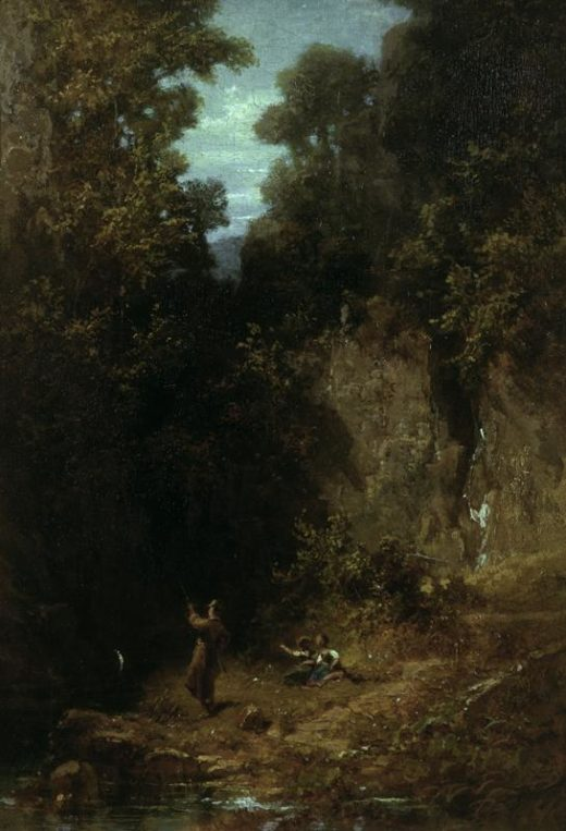 "Carl Spitzweg ""Der Angler"" 25 x 18 cm 1"