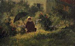 "Carl Spitzweg ""Der Maler im Garten"" 22 x 34 cm"