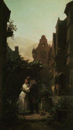 """Carl Spitzweg """"Der Abschied"""" 53 x 32 cm"""