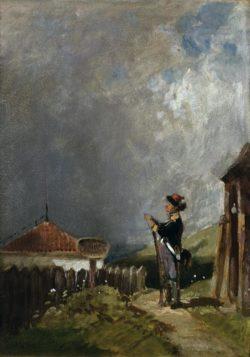 """Carl Spitzweg """"Die Schildwache"""" 29 x 21 cm"""