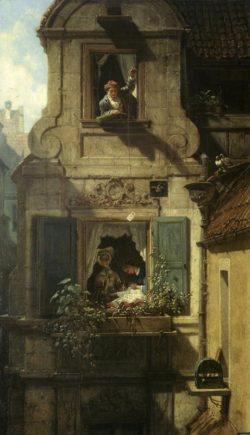 """Carl Spitzweg """"Der abgefangene Liebesbrief"""" 54 x 32 cm"""