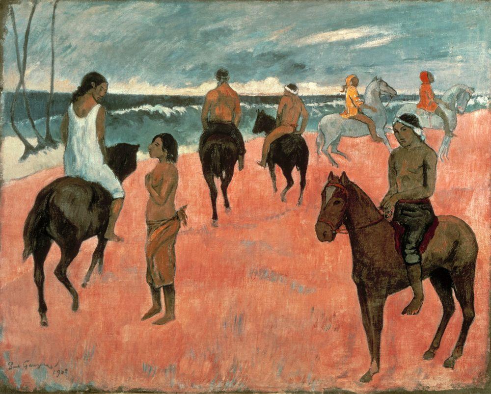 """Paul Gauguin """"Reiter am Strand""""  92 x 73 cm"""