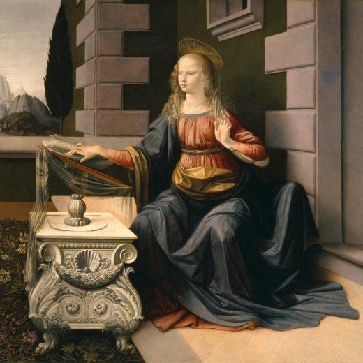 "Leonardo da Vinci ""Maria (Ausschnitt aus Die Verkündigung)"" 98 x 98 cm 1"