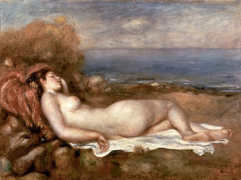 """Auguste Renoir """"Baigneuse couchee au bord de la mer""""  x  cm"""