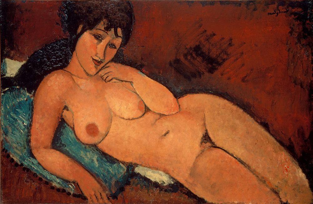 "Amedeo Modigliani ""Akt auf blauem Kissen"" 65 x 101""cm"