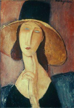 """Amedeo Modigliani """"Bildnis einer Frau mit großem Hut / Jeanne Hébuterne mit großem Hut"""" 55 x 38""""cm"""