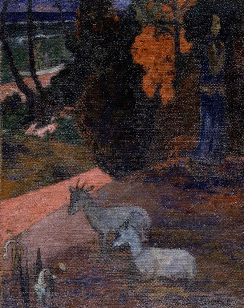 "Paul Gauguin ""Landschaft mit zwei Ziegen""  73 x 92 cm"