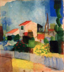 """August Macke """"Das helle Haus (1. Fassung)"""" 22 x 25 cm"""