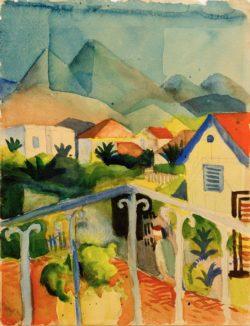 "August Macke ""St. Germain bei Tunis"" 21 x 26 cm"
