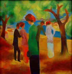 "August Macke ""Dame in grüner Jacke"" 43 x 44 cm"