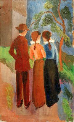 """August Macke """"Spaziergang zu dritt"""" 34 x 56 cm"""
