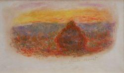 """Claude Monet """"Heuhaufen bei Sonnenuntergang"""" 19 x 12 cm"""