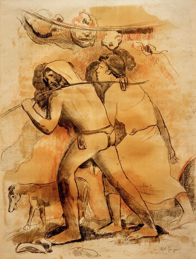 """Paul Gauguin """"Der Aufbruch (Adam und Eva)""""  40 x 53 cm"""