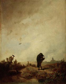 """Carl Spitzweg """"Der Rabe"""" 36 x 27 cm"""