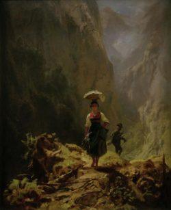 """Carl Spitzweg """"Dirndl und Jäger im Gebirge"""" 37 x 30 cm"""