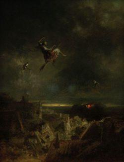 """Carl Spitzweg """"Hexenritt"""" 24 x 19 cm"""