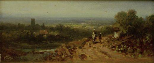 """Carl Spitzweg """"Landschaft mit Reiter"""" 9 x 22 cm 1"""