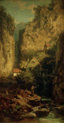 "Carl Spitzweg ""Der Forellenangler"" 21 x 10 cm"