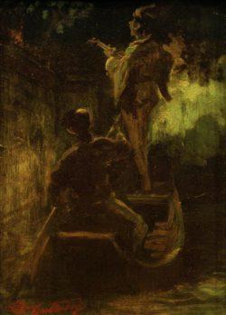 """Carl Spitzweg """"Ein Ständchen vom Boot aus"""" 21 x 14 cm"""