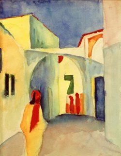 """August Macke """"Blick in eine Gasse in Tunis"""" 23 x 29 cm"""