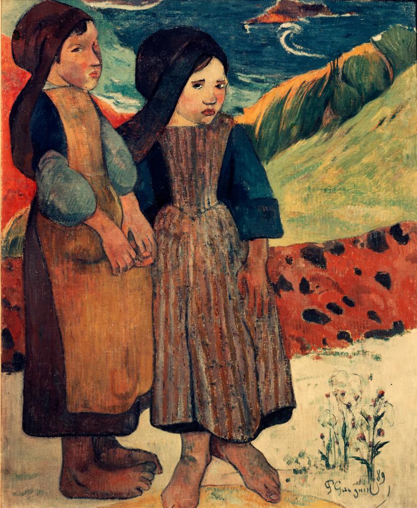 """Paul Gauguin """"Bretonische kleine Mädchen an der Küste""""  72 x 90 cm"""