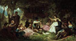 "Carl Spitzweg ""Das Picknick"" 27 x 49 cm"