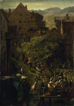 """Carl Spitzweg """"Ankunft in Seeshaupt"""" 69 x 49 cm"""